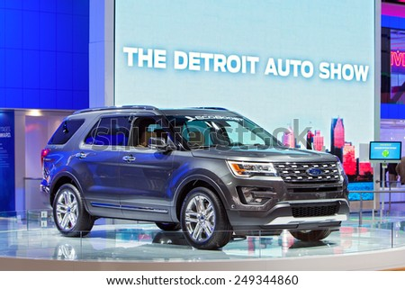 DETROIT - JANUARY 15: A Ford Explorer with Eco-Boost on display January 15th, 2015 at the 2015 North American International Auto Show in Detroit, Michigan. - stock photo