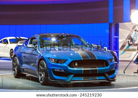 DETROIT - JANUARY 13: A Ford GT350 Shelby Cobra Mustang on display January 13th, 2015 at the 2015 North American International Auto Show in Detroit, Michigan. - stock photo