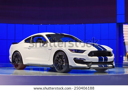 DETROIT - JANUARY 12: A Ford Mustang GT 350 Shelby Cobra on display January 12th, 2015 at the 2015 North American International Auto Show in Detroit, Michigan. - stock photo