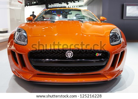 DETROIT - JANUARY 14 : A Jaguar convertible on display at The North American International Auto Show  January 14, 2013 in Detroit, Michigan. - stock photo