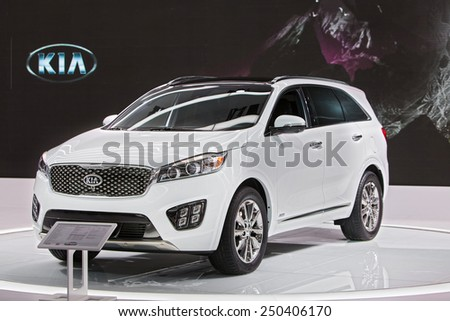 DETROIT - JANUARY 12: A Kia Sorento on display January 12th, 2015 at the 2015 North American International Auto Show in Detroit, Michigan. - stock photo