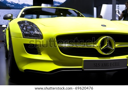 DETROIT - JANUARY 23:  A Mercedes-Benz car on display at the North American International Auto Show on January 23, 2011 in Detroit, Michigan. - stock photo