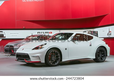 DETROIT - JANUARY 15: A Nissan 370z Nismo January 13th, 2015 at the 2015 North American International Auto Show in Detroit, Michigan. - stock photo