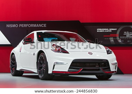 DETROIT - JANUARY 15: A Nissan 370Z Nismo on display January 15th, 2015 at the 2015 North American International Auto Show in Detroit, Michigan. - stock photo