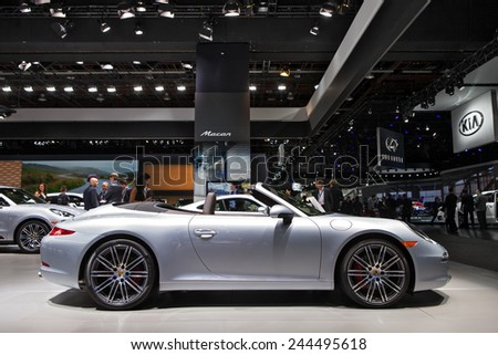 DETROIT - JANUARY 13: A Porsche Boxster on display January 13th, 2015 at the 2015 North American International Auto Show in Detroit, Michigan. - stock photo