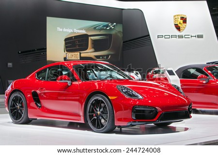 DETROIT - JANUARY 15: A Porsche Cayman GTS on display January 13th, 2015 at the 2015 North American International Auto Show in Detroit, Michigan. - stock photo
