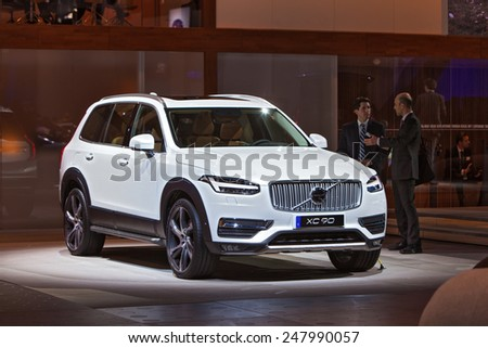 DETROIT - JANUARY 13: A Volvo XC90 on display January 13th, 2015 at the 2015 North American International Auto Show in Detroit, Michigan.