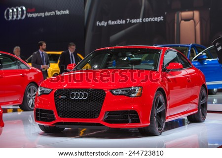 DETROIT - JANUARY 13: An Audi RS5 is on display January 13th, 2015 at the 2015 North American International Auto Show in Detroit, Michigan. - stock photo