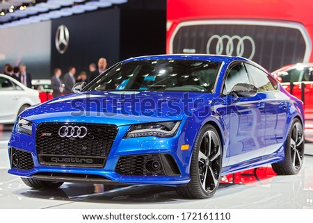 DETROIT - JANUARY 14 : An Audi RS7 on display at the North American International Auto Show media preview  January 14, 2014 in Detroit, Michigan. - stock photo