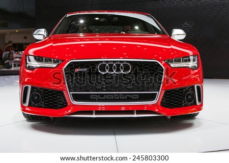DETROIT - JANUARY 13: An Audi RS7 Quattro on display January 13th, 2015 at the 2015 North American International Auto Show in Detroit, Michigan. - stock photo