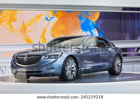 DETROIT - JANUARY 12: Buick debuts the Avenir concept January 12th, 2015 at the 2015 North American International Auto Show in Detroit, Michigan. - stock photo