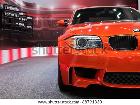 DETROIT - JANUARY 10: Detail of a BMW M series on display at the 2011 North American International Auto Show Press Preview on January 10, 2011 in Detroit, Michigan. - stock photo