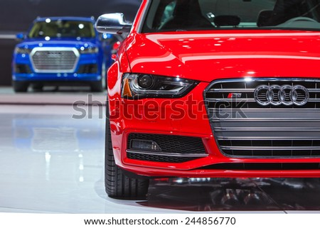 DETROIT - JANUARY 15:Detail of the Audi S4 sedan January 15th, 2015 at the 2015 North American International Auto Show in Detroit, Michigan. - stock photo