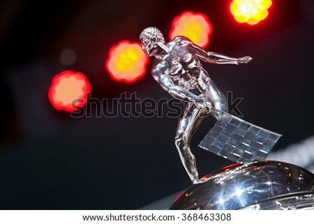 DETROIT - JANUARY 12: Detail of the top of the Borg-Warner Indianapolis 500 trophy at the North American International Auto Show media preview January 12, 2016 in Detroit, Michigan. - stock photo