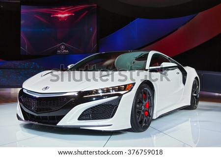 DETROIT - JANUARY 11: The 2017 Acura NSX on display at the North American International Auto Show media preview January 11, 2016 in Detroit, Michigan.