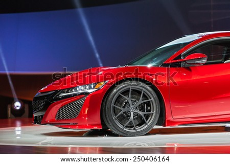 DETROIT - JANUARY 12: The Acura NSX on display during the media preview January 12th, 2015 at the 2015 North American International Auto Show in Detroit, Michigan. - stock photo