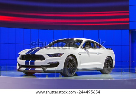DETROIT - JANUARY 13: The all new Ford Mustang Gt350 Shelby Cobra on display January 13th, 2015 at the 2015 North American International Auto Show in Detroit, Michigan. - stock photo
