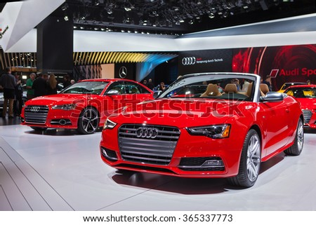 DETROIT - JANUARY 13: The 2016 Audi S5 covertible on display at the North American International Auto Show media preview January 13, 2016 in Detroit, Michigan.