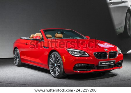 DETROIT - JANUARY 12: The BMW 650i Convertible on display January 12th, 2015 at the 2015 North American International Auto Show in Detroit, Michigan. - stock photo