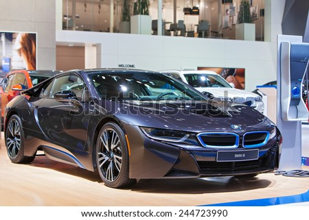 DETROIT - JANUARY 15: The BMW i8 electric vehicle on display January 13th, 2015 at the 2015 North American International Auto Show in Detroit, Michigan. - stock photo
