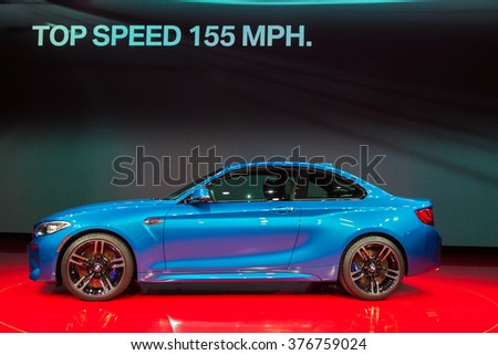 DETROIT - JANUARY 11: The 2016 BMW M2 Coupe on display at the North American International Auto Show media preview January 11, 2016 in Detroit, Michigan.