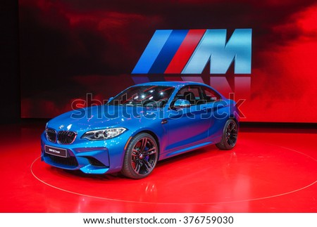 DETROIT - JANUARY 13: The BMW M2 Coupe on display at the North American International Auto Show media preview January 11, 2016 in Detroit, Michigan. - stock photo