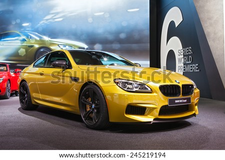 DETROIT - JANUARY 12: The BMW M6 Coupe on display January 12th, 2015 at the 2015 North American International Auto Show in Detroit, Michigan. - stock photo