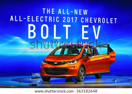 DETROIT - JANUARY 13: The 2017 Bolt EV on display at the North American International Auto Show media preview January 13, 2016 in Detroit, Michigan. - stock photo