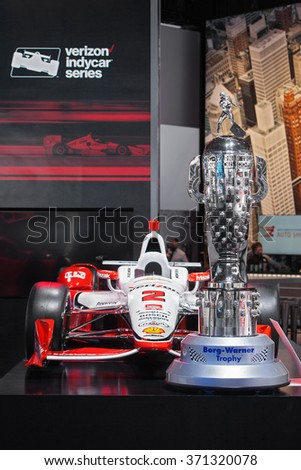 DETROIT - JANUARY 12: The Borg-Warner Indianapolis 500 trophy on display at the North American International Auto Show media preview January 12, 2016 in Detroit, Michigan.