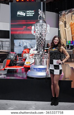 DETROIT - JANUARY 13: The Borg-Warner trophy on display at the North American International Auto Show media preview January 13, 2016 in Detroit, Michigan. - stock photo