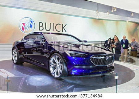 DETROIT - JANUARY 11: The Buick Avista concept on display at the North American International Auto Show media preview January 11, 2016 in Detroit, Michigan. - stock photo