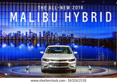 DETROIT - JANUARY 13: The 2016 Chevrolet Malibu hybrid on display at the North American International Auto Show media preview January 13, 2016 in Detroit, Michigan. - stock photo