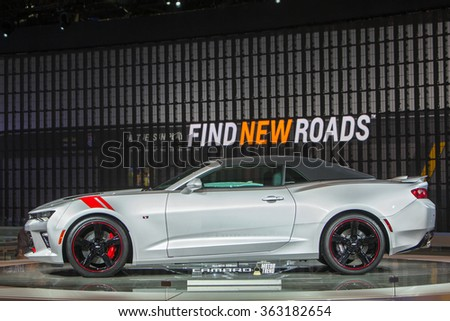 DETROIT - JANUARY 13: The 2016 Chevy Camaro on display at the North American International Auto Show media preview January 13, 2016 in Detroit, Michigan. - stock photo