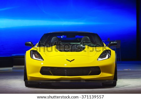 DETROIT - JANUARY 12: The 2017 Chevy Corvette Z06 on display at the North American International Auto Show media preview January 12, 2016 in Detroit, Michigan.