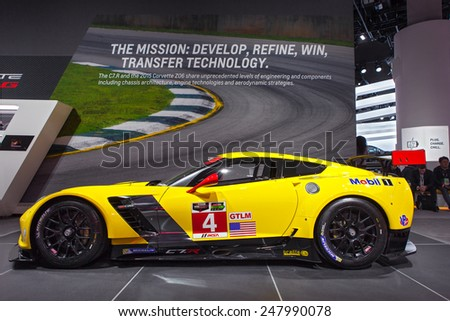 DETROIT - JANUARY 12: The Chevy Corvette Z06 race car on display January 12th, 2015 at the 2015 North American International Auto Show in Detroit, Michigan. - stock photo