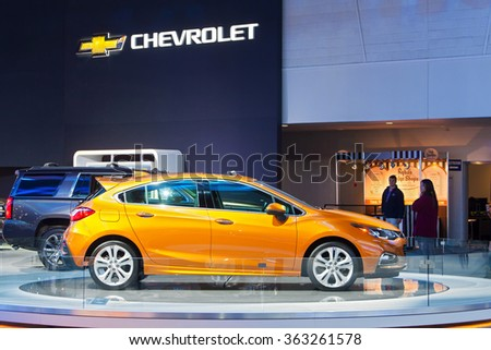 DETROIT - JANUARY 13: The 2016 Chevy Cruze on display at the North American International Auto Show media preview January 13, 2016 in Detroit, Michigan. - stock photo