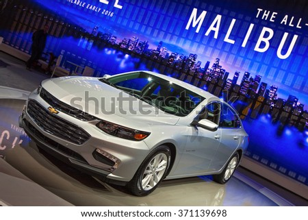 DETROIT - JANUARY 12: The 2017 Chevy Malibu on display at the North American International Auto Show media preview January 12, 2016 in Detroit, Michigan. - stock photo