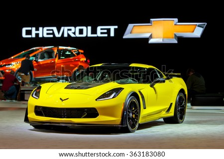 DETROIT - JANUARY 13: The 2016 Corvette Z06 on display at the North American International Auto Show media preview January 13, 2016 in Detroit, Michigan. - stock photo