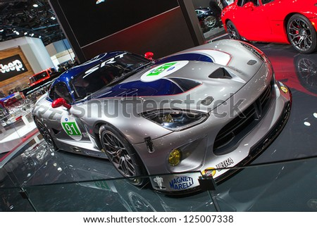 DETROIT - JANUARY 15 : The Dodge Viper Srt race car at The North American International Auto Show  January 15, 2013 in Detroit, Michigan. - stock photo