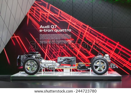 DETROIT - JANUARY 15: The exposed drivetrain of the Audi Q7 E-tron January 13th, 2015 at the 2015 North American International Auto Show in Detroit, Michigan. - stock photo