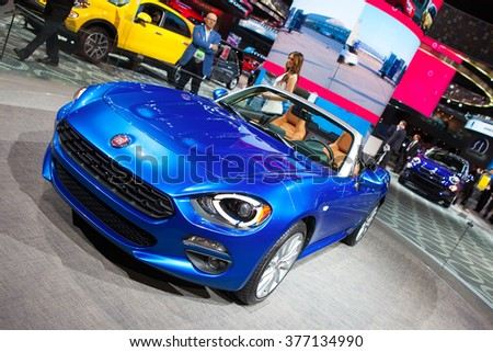 DETROIT - JANUARY 11: The Fiat 124 Spyder concept on display at the North American International Auto Show media preview January 11, 2016 in Detroit, Michigan.