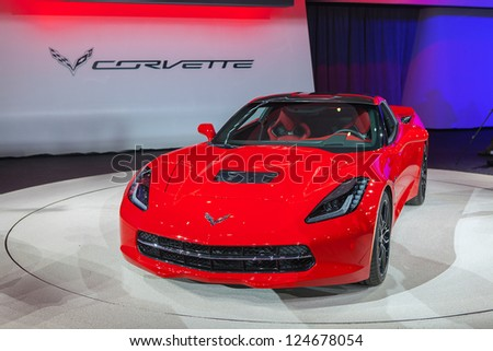 DETROIT - JANUARY 14 : The first 2014 Corvette Stingray at The North American International Auto Show  January 14, 2013 in Detroit, Michigan. - stock photo