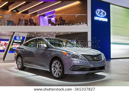DETROIT - JANUARY 13: The Hyundai Sonata on display at the North American International Auto Show media preview January 13, 2016 in Detroit, Michigan.