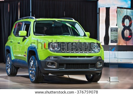 DETROIT - JANUARY 11: The 2017 Jeep Renegade on display at the North American International Auto Show media preview January 11, 2016 in Detroit, Michigan. - stock photo