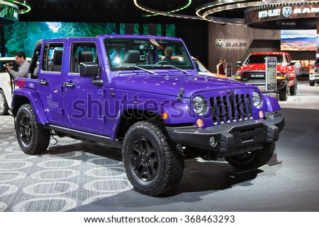 DETROIT - JANUARY 12: The 2017 Jeep Wrangler on display at the North American International Auto Show media preview January 12, 2016 in Detroit, Michigan.
