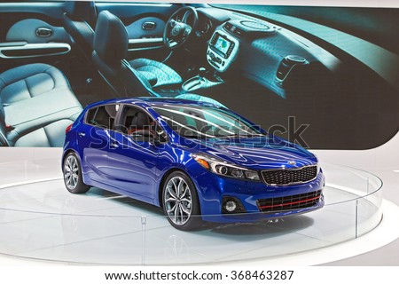 DETROIT - JANUARY 12: The Kia Forte 5 on display at the North American International Auto Show media preview January 12, 2016 in Detroit, Michigan.