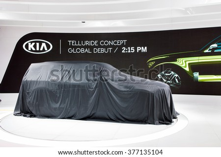 DETROIT - JANUARY 11: The Kia Telluride concept premiere at the North American International Auto Show media preview January 11, 2016 in Detroit, Michigan. - stock photo
