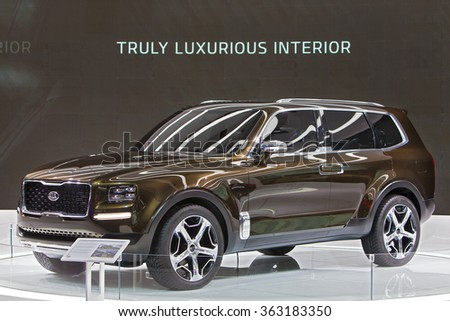 DETROIT - JANUARY 13: The Kia Telluride concept vehicle on display at the North American International Auto Show media preview January 13, 2016 in Detroit, Michigan. - stock photo
