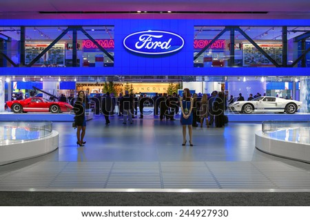 DETROIT - JANUARY 12: The main enterance to the Ford display January 12th, 2015 at the 2015 North American International Auto Show in Detroit, Michigan. - stock photo