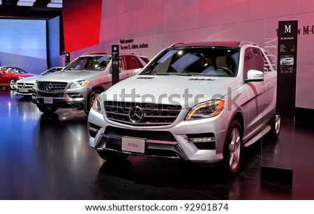 DETROIT - JANUARY 11: The Mercedes Benz ML 550 4Matic at the 2012 North American International Auto Show Industry Preview on January 11, 2012 in Detroit, Michigan. - stock photo
